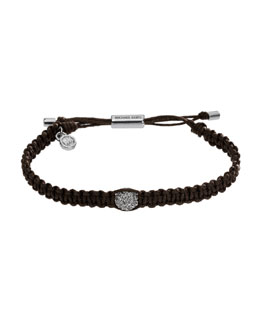 Michael Kors  Macrame Pave Bar Bracelet, Dark Chocolate