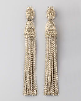 Oscar de la Renta Chain Tassel Earrings, Silver
