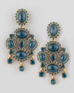 Oscar de la Renta Cabochon Drop Clip Earrings, Green