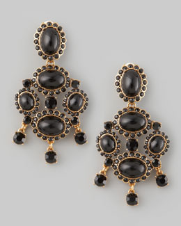 Oscar de la Renta Cabochon Drop Clip Earrings, Black
