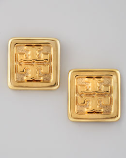 Tory Burch Square Logo Stud Earrings