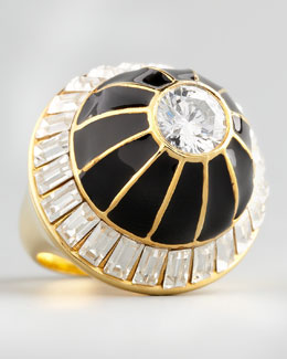 Rachel Zoe Crystal Dome Ring, Black