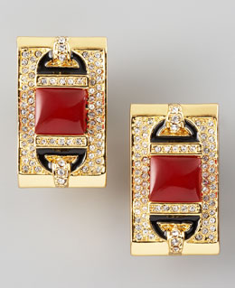Rachel Zoe Rectangular Clip Earrings, Red Quartz