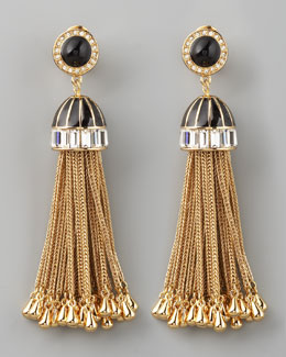 Rachel Zoe Rhinestone Tassel Drop Earrings