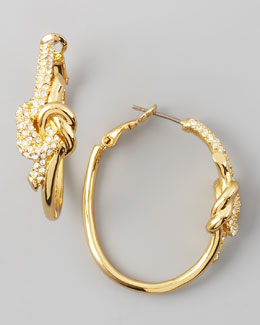 Rachel Zoe Pave Love Knot Hoop Earrings