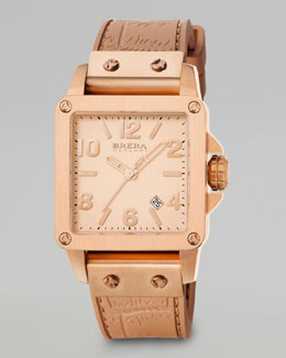 Brera Stella, Rose Gold Tonal Watch, Silicone Strap