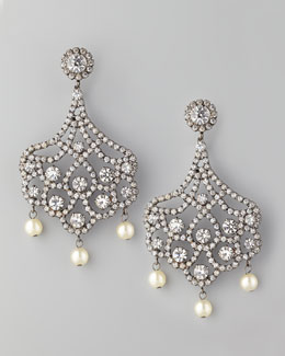 Kenneth Jay Lane Pave Crystal & Pearl Clip Earrings