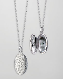 Monica Rich Kosann Oval Floral-Carved Locket Necklace