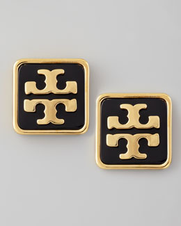 Tory Burch Enamel Square Logo Stud Earrings, Black