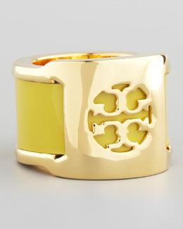 Tory Burch Patent Leather Band Ring, Green Amber