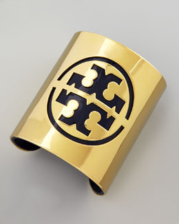 Tory Burch Leather Stencil Logo Cuff, Blue