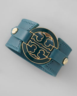 Tory Burch Logo Double-Snap Cuff, Teal