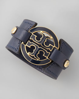 Tory Burch Logo Double-Snap Cuff, Navy