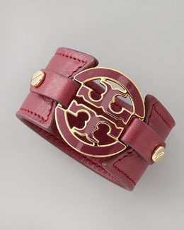 Tory Burch Logo Double-Snap Cuff, Wine