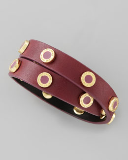 Tory Burch Cole Logo-Studded Leather Wrap Bracelet, Wine