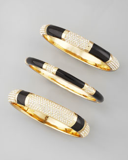 Rachel Zoe Set of Three Crystal Bangles, Black