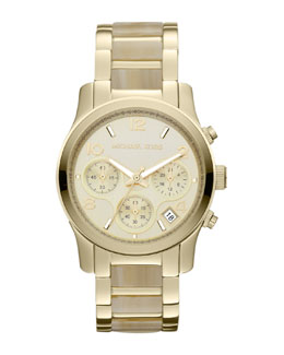 Michael Kors  Mid-Size Horn Acetate and Golden Stainless Steel Runway Chronograph Watch