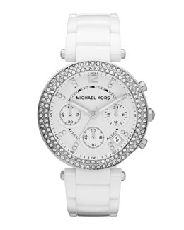 Michael Kors  White Acetate Parker Three-Hand Glitz Watch