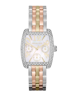 Michael Kors  Mid-Size Trilogy Stainless Steel Emma Multifunction Glitz Watch
