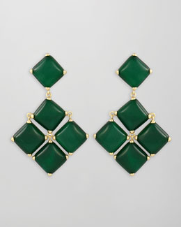 Kendra Scott Cushion Cabochon Earrings, Green