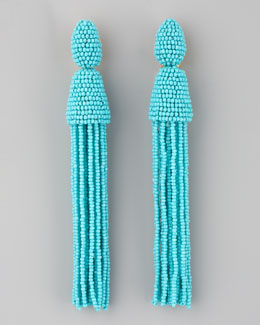 Oscar de la Renta Long Beaded Tassel Earrings, Turquoise