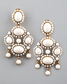 Oscar de la Renta Cabochon Drop Clip Earrings, White