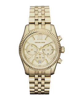 Michael Kors  Mid-Size Golden Lexington Chronograph Stainless Steel Watch