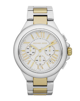 Michael Kors  Mid-Size Silver Color Golden Stainless Steel Camille  Chronograph Watch