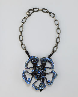 Lanvin Crystal Flower Pendant Necklace, Blue