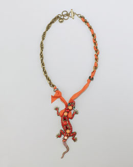 Lanvin Salamander Pendant Necklace, Red