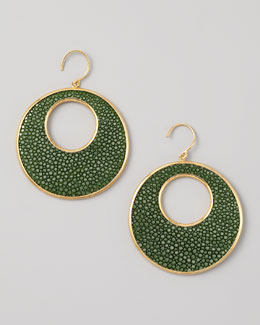 Nest Stingray Circle Earrings, Green