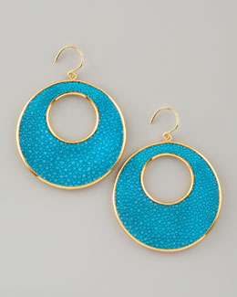 Nest Stingray Circle Earrings, Turquoise