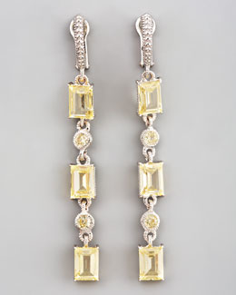 Judith Ripka Triple Baguette Drop Earrings, Canary
