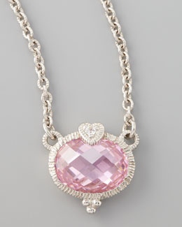 Judith Ripka Pink Heart Pendant Necklace