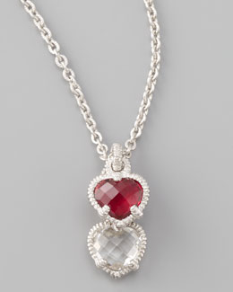 Judith Ripka Silver Twin Heart Pendant Necklace