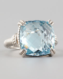 Judith Ripka Cushion-Cut Blue Topaz Ring