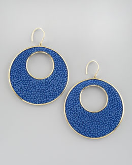 Nest Stingray Circle Earrings, Blue