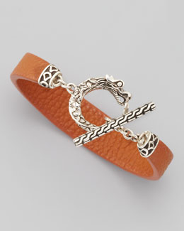 John Hardy Naga Toggle Leather Bracelet, Cognac