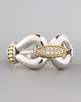 Lagos Pave Diamond Derby Ring, Gold