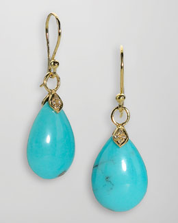Elizabeth Showers 18k Gold Diamond & Turquoise Teardrop Earrings