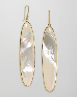 Elizabeth Showers Long 18k Gold Mother-of-Pearl Drop Earrings