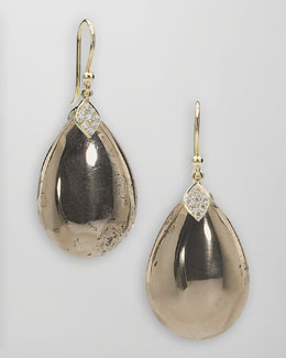 Elizabeth Showers 18k Gold Pyrite Teardrop Earrings
