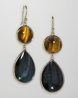 Elizabeth Showers 18k Gold Tiger's Eye & Topaz Drop Earrings