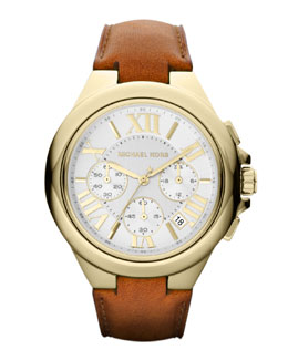 Michael Kors  Mid-Size Golden Stainless Steel and Leather Camille Three-Hand Watch