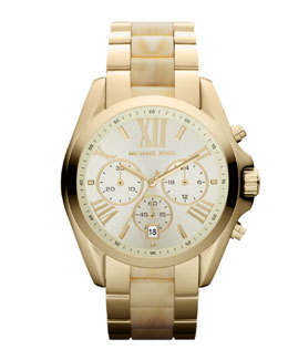Michael Kors  Mid-Size Golden Stainless Steel and Acetate Bradshaw Chronograph Watch
