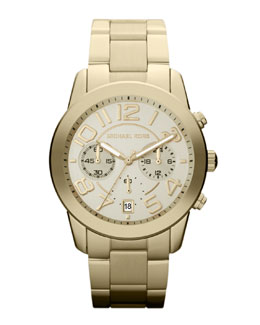 Michael Kors  Mid-Size Golden Stainless Steel Mercer Chronograph Watch
