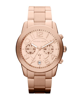 Michael Kors  Mid-Size Rose Golden Stainless Steel Mercer Chronograph Watch