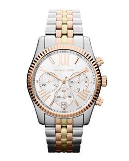 Michael Kors  Mid-Size Silver Color Stainless Steel Lexington Chronograph Watch