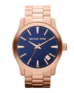 Michael Kors  Oversize Rose Golden Stainless Steel Runway Three-Hand Watch