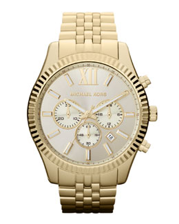 Michael Kors Golden Stainless Steel Lexington Chronograph Watch